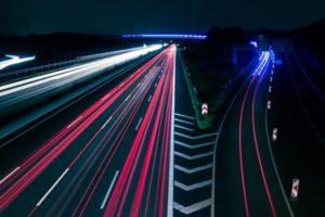 Nighttime traffic time lapse photo